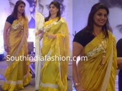 pinky reddy yellow ruffle saree