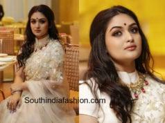 prayaga martin white saree santhosham film awards 2018