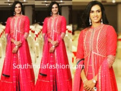 pv sindhu pink floor length anarkali