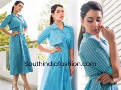 raashi khanna blue striped dress