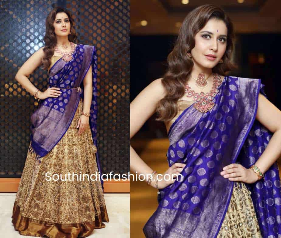 raashi khanna in gold purple lehenga at madras bridal fashion show 2018