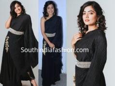 rashmika mandanna black dress devdas audio launch