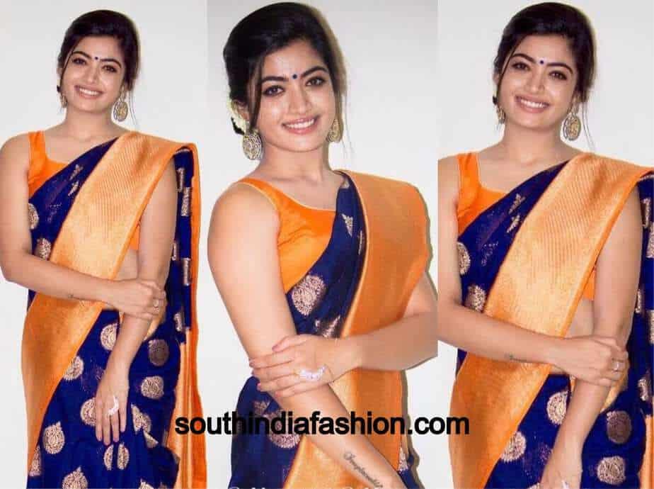 rashmika mandanna in blue saree