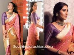 regina cassandra banarasi silk saree wedding
