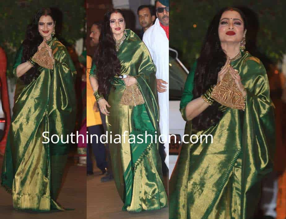 92c13c021da237 Rekha in a green kanjeevaram saree – South India Fashion