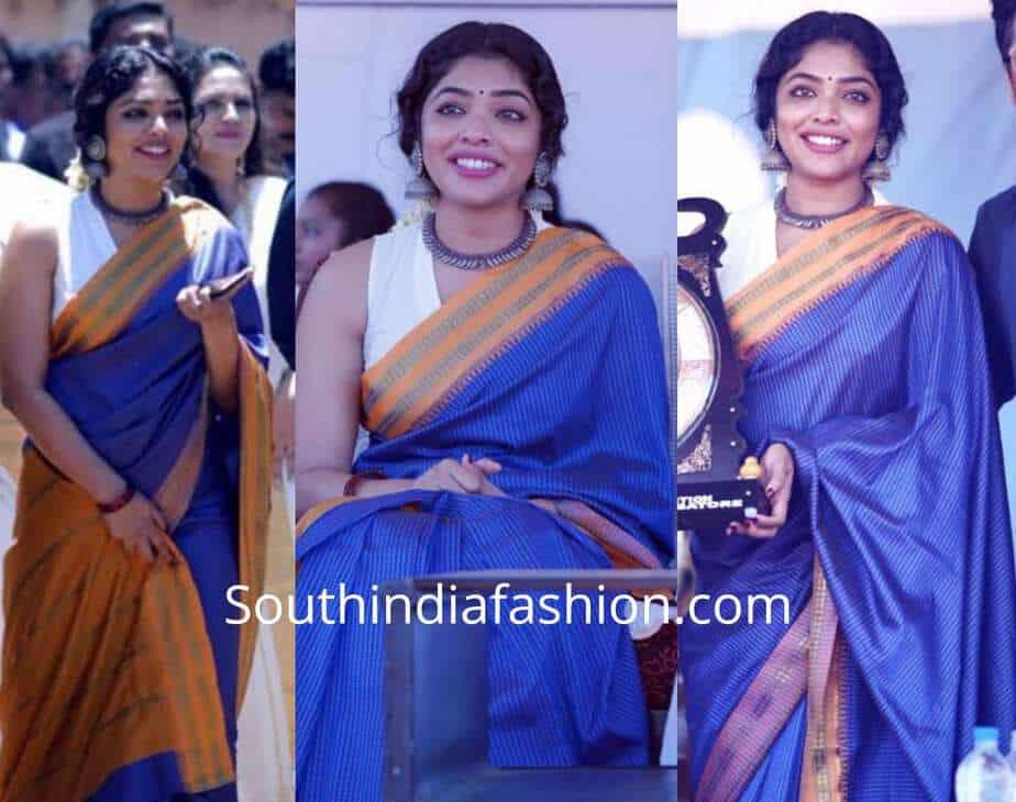 rima kallingal blue saree