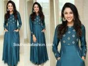 riya suman teal blue maxi dress janmashtami celebrations