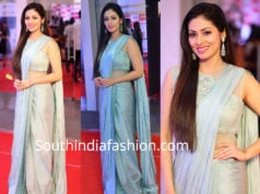 sadha blue saree mirchi music awards 2018