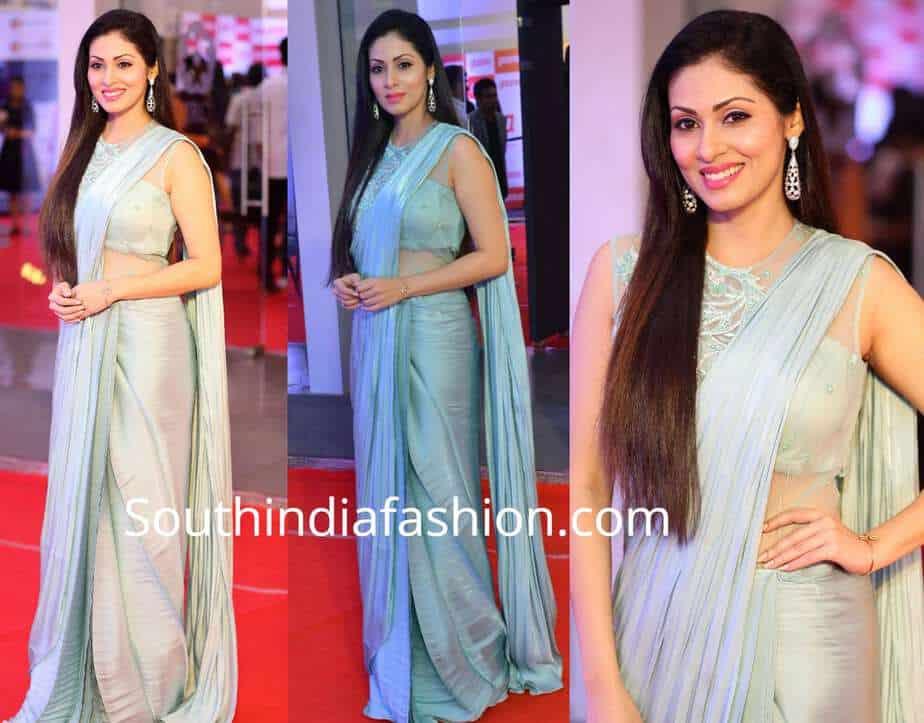 sadha blue saree mirchi music awards 2018