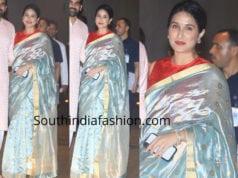 sagarika ghatge blue silk saree ganesh chaturthi