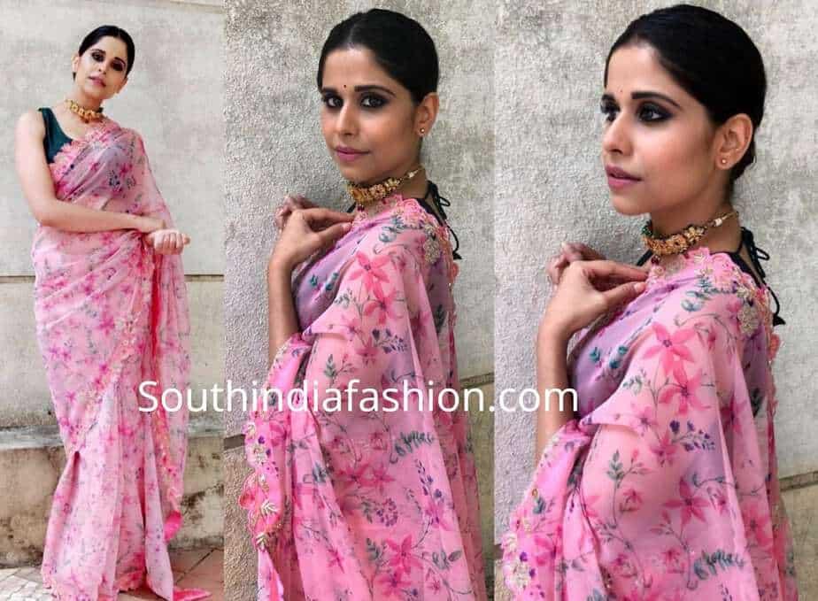 Sai Tamhankar pink saree