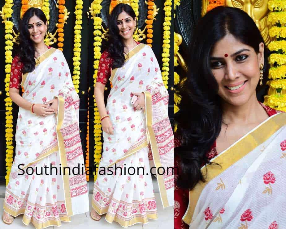 sakshi tanwar cotton saree ganesh chaturthi