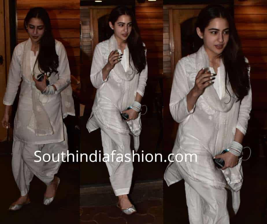 sara ali khan white chikankari suit