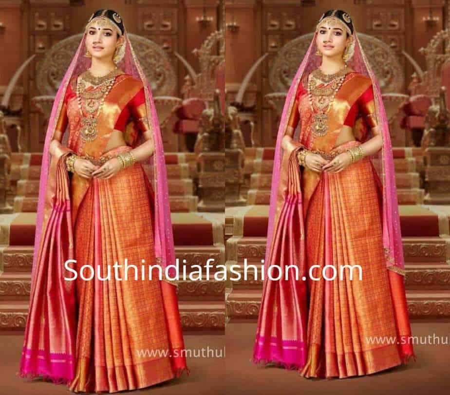 traditional saree drape with 2 sraees 1 dupatta
