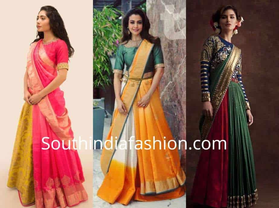 saree draped over lehenga