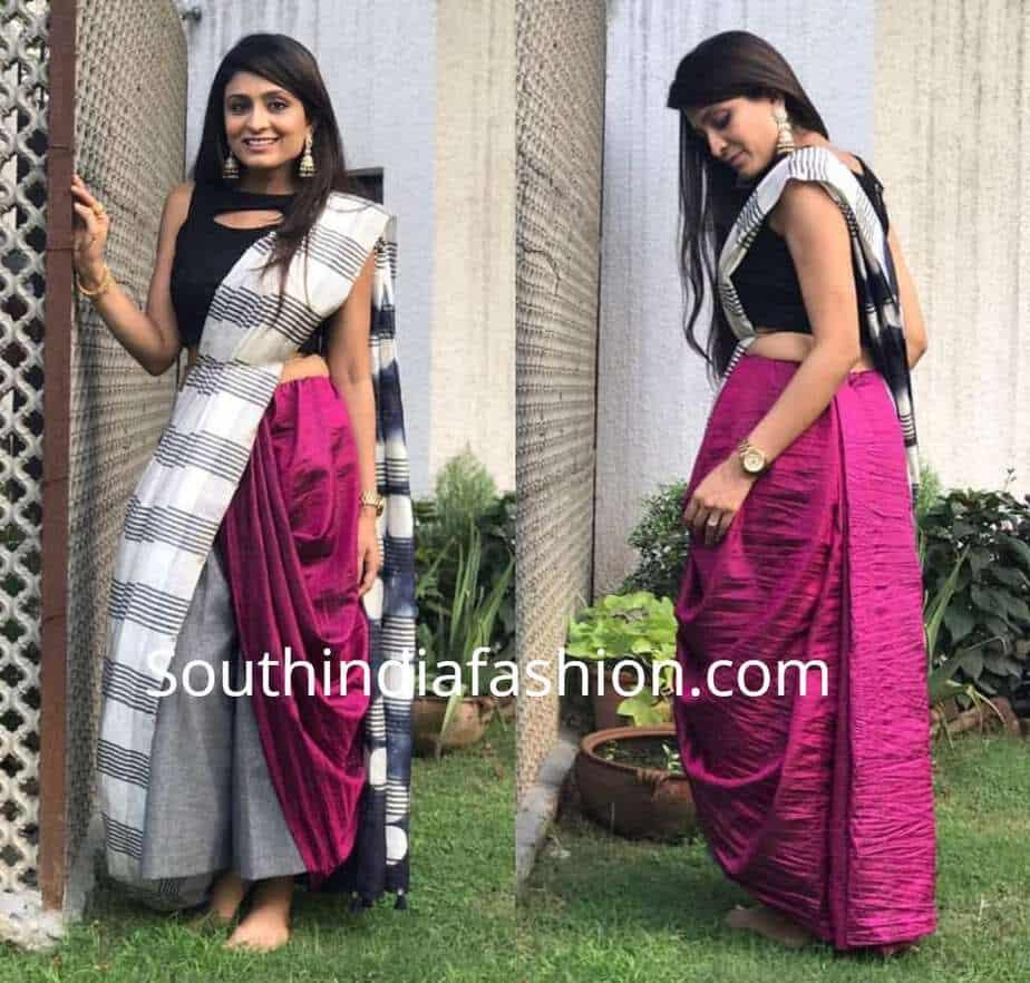 saree with culottes or palazzos