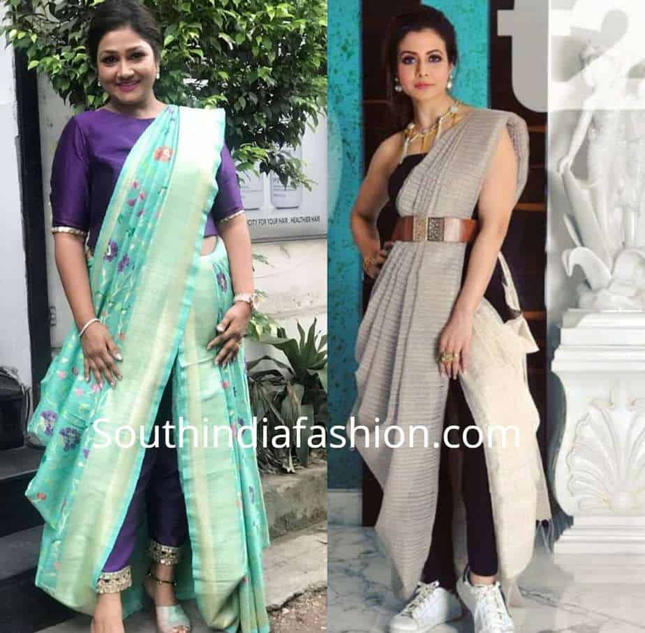 saree with pants and leggings