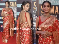 shanvi srivastava red banaras silk saree siima awards 2018