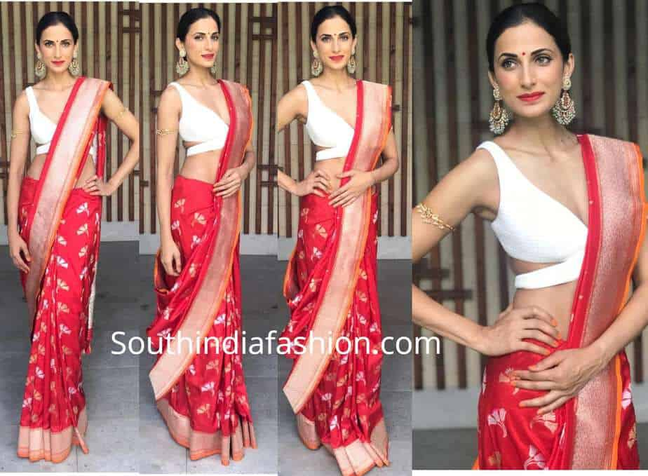 shilpa reddy red banarasi silk saree