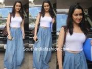 shraddha kapoor blue maxi skirt crop top