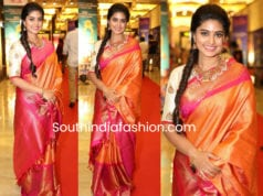 sneha prasanna in mustard yellow pattu saree at santhosham awards 2018