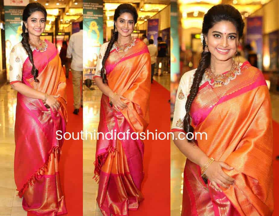 Sneha Prasanna In Orange Pattu Saree At Santhosham Awards 2018