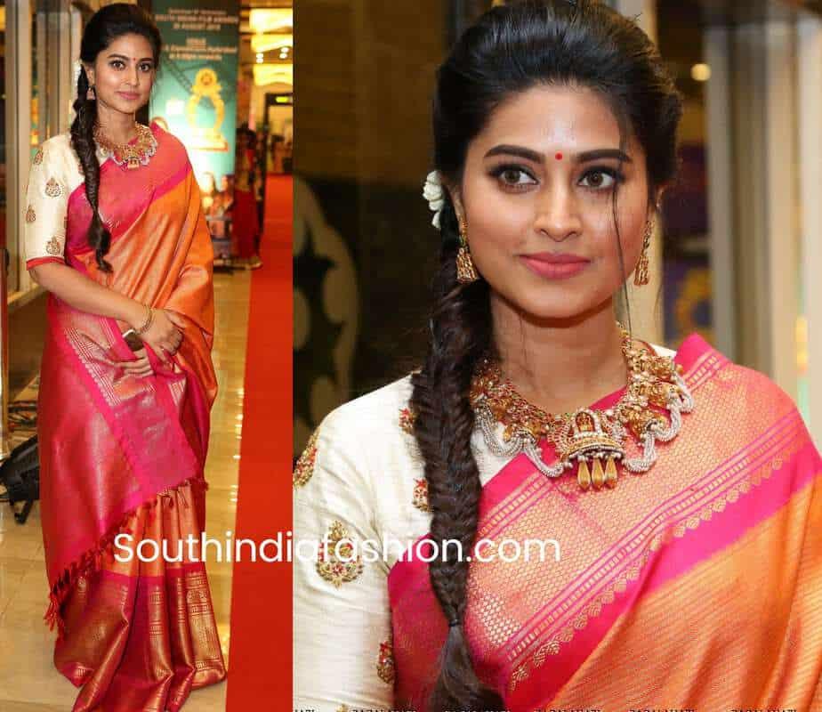 sneha prasanna in mustard yellow pattu saree at santhosham awards 2018