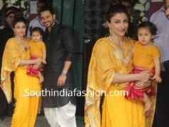 soha ali khan with daughter innaya yellow dresses ganesh utsav