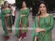 sonal chauhan green palazzo suit ganpati darshan