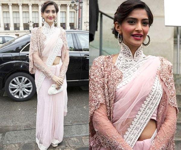 Sonam Kapoor ethnic jacket with saree