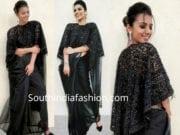 sruthi hariharan black saree with cape kalki fashion