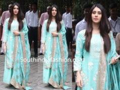 warina hussain blue palazzo suit arpita khan ganesh chaturthi