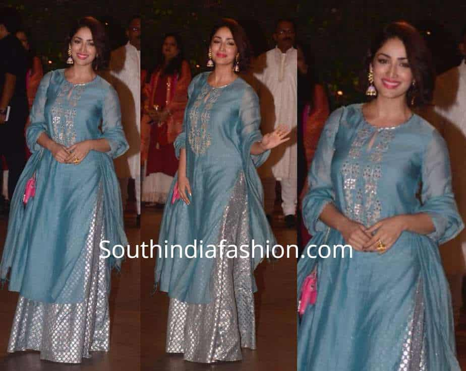 yami gautam blue sharara anita dongre at ganesh chaturthi celebrations
