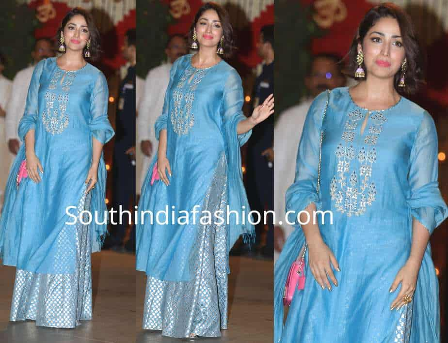 yami gautam blue sharara at ambani ganesh festival party