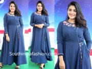 nivetha thomas blue anarkali swaasa launch