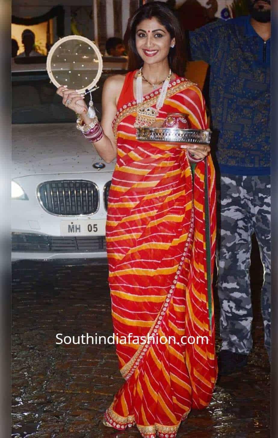 shilpa shetty karva chauth saree