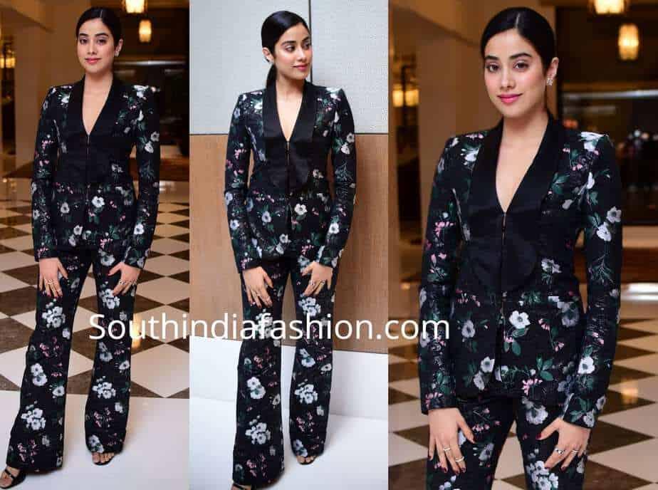 janhvi kapoor in black floral print suit prabal gurung