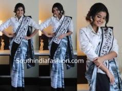anupama parameswaran saree with shirt