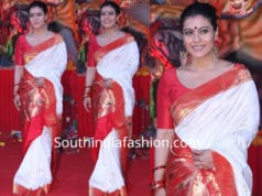 kajol in white paithani saree at durga puja pandal