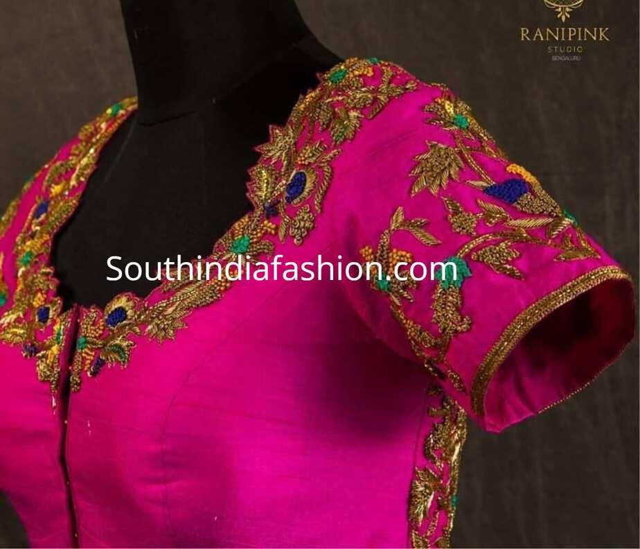 dfcd945463 Maggam Work Bridal Blouse Designs For Silk Sarees – South India Fashion