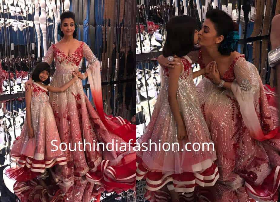aishwarya and aaradhya in mathcing manish malhotra gowns