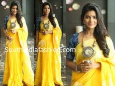 aishwarya rajesh in yellow saree by raw mango