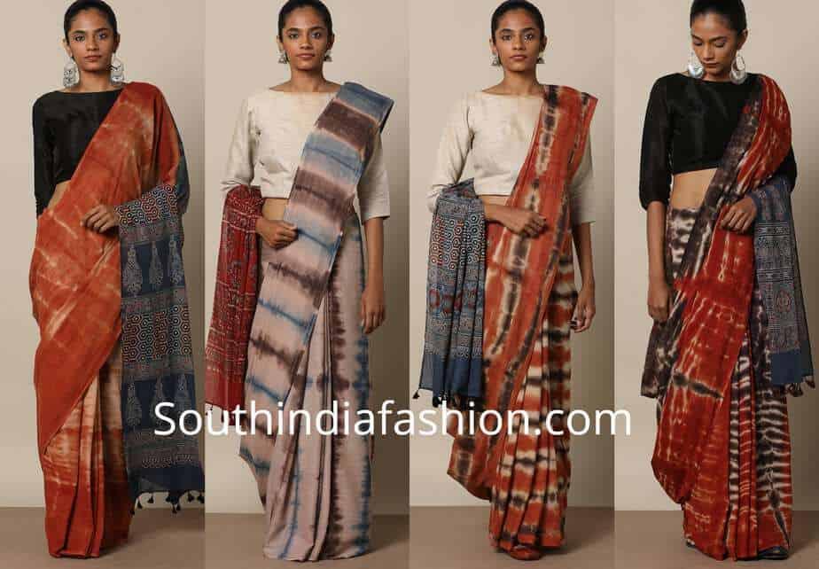 Handblock Print Ajrak Shibori Cotton Sarees