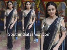 amruta khanvilkar black saree mirror work cut sleeves blouse