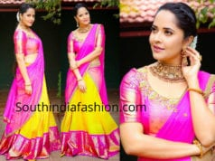 anchor anasuya pattu half saree
