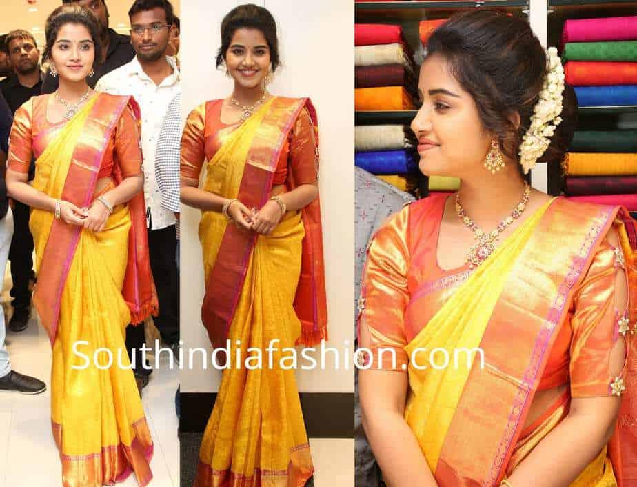 anupama parameswaran yellow pattu saree rs brothers shopping mall launch
