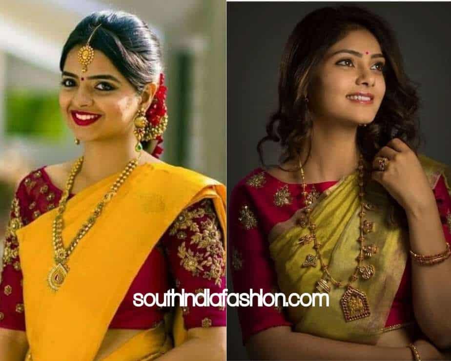 contrast colored design blouse