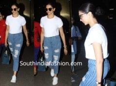 deepika padukone blue jeans white t shirt airport