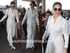 deepika padukone in Rajesh Pratap Singh white dress airport