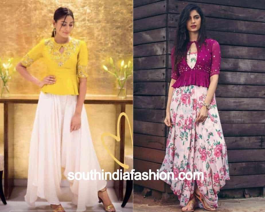 dhoti pant and peplum blouse